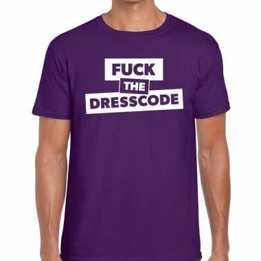 Fuck the dresscode tekst paars heren t-shirt kopen