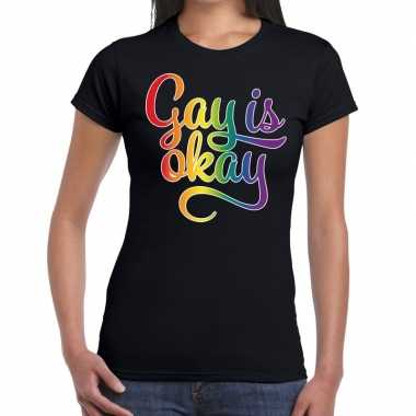 Gay is okay gay pride zwart dames t-shirt kopen