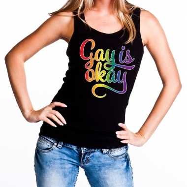 Gay is okay gaypride tanktop zwart dames t-shirt kopen