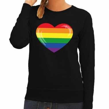 Gay pride regenboog hart sweater zwart dames t-shirt kopen