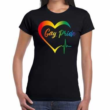 Gay pride regenboog hart zwart dames t-shirt kopen