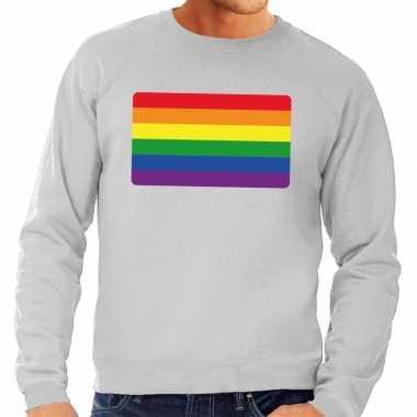 Gay pride regenboog vlag sweater grijs heren t-shirt kopen
