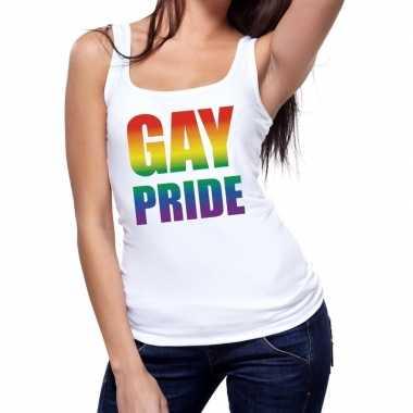 Gay pride tanktop / mouwloos wit dames t-shirt kopen