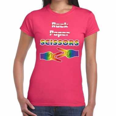 Gaypride rock paper scissors roze danes t-shirt kopen