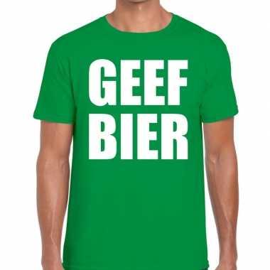 Geef bier tekst groen heren t-shirt kopen