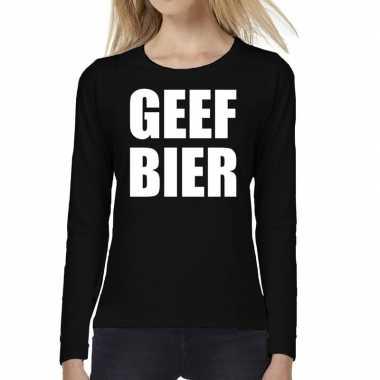 Geef bier tekst long sleeve zwart dames t-shirt kopen