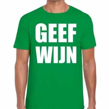 Geef wijn tekst groen heren t-shirt kopen