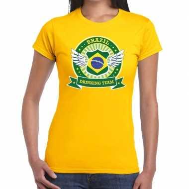 Geel brazil drinking team dames t-shirt kopen