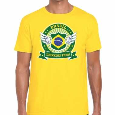 Geel brazil drinking team heren t-shirt kopen