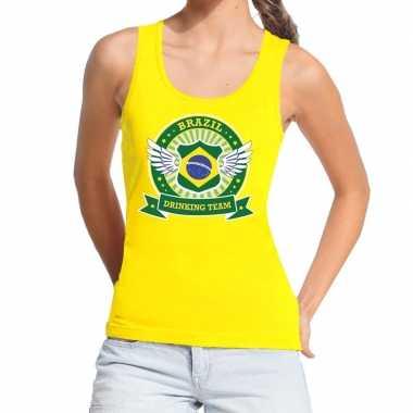Geel brazil drinking team tanktop / mouwloos dames t-shirt kopen
