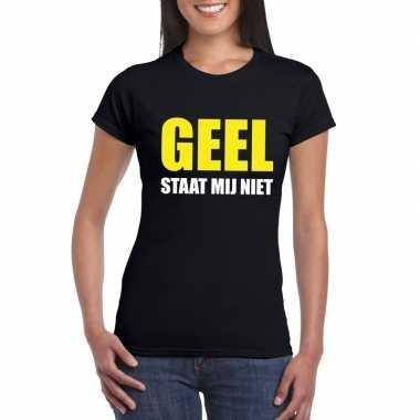 Geel staat mij niet tekst zwart dames t-shirt kopen