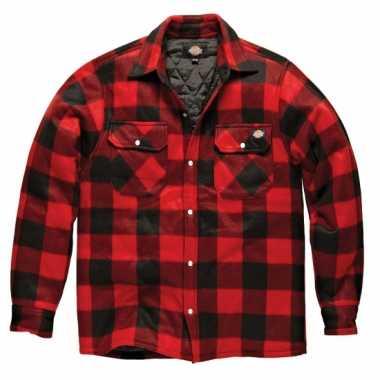 Gewatteerde houthakkers jas rood zwart t-shirt