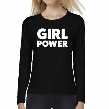 Girl power tekst long sleeve zwart dames t-shirt kopen