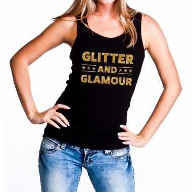 Glitter and glamour glitter tanktop / mouwloos zwart dames t-shirt ko