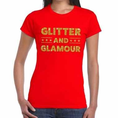 Glitter and glamour glitter tekst rood dames t-shirt kopen