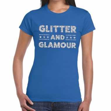 Glitter and glamour zilver glitter tekst blauw dames t-shirt kopen