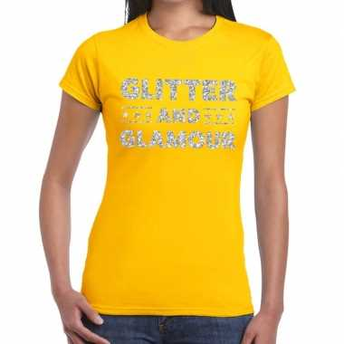 Glitter and glamour zilver glitter tekst geel dames t-shirt kopen