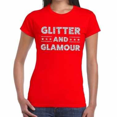 Glitter and glamour zilver glitter tekst rood dames t-shirt kopen