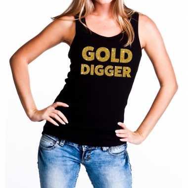 Gold digger glitter tanktop / mouwloos zwart dames t-shirt kopen