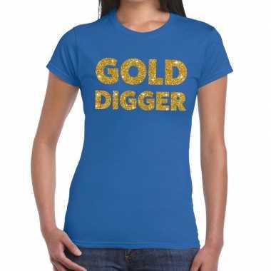 Gold digger gouden glitter tekst blauw dames t-shirt kopen