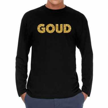 Goud glitter long sleeve zwart heren t-shirt kopen