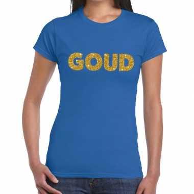 Goud glitter tekst blauw dames t-shirt kopen