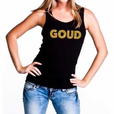 Goud glitter tekst tanktop / mouwloos zwart dames t-shirt kopen