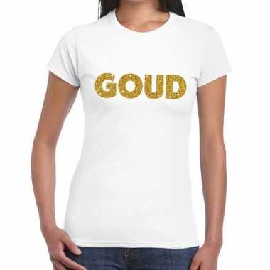 Goud glitter tekst wit dames t-shirt kopen