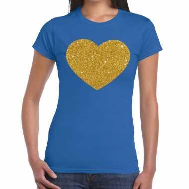 Gouden glitter hart blauw dames t-shirt kopen