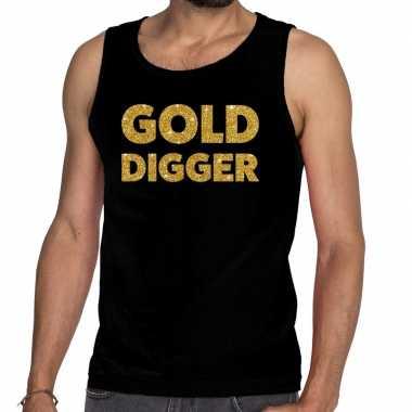 Gouden golddigger glitter tanktop / mouwloos zwart heren t-shirt kope
