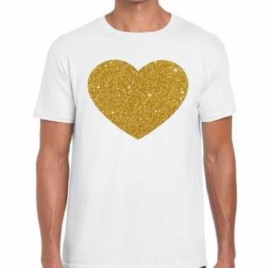 Gouden hart glitter fun t wit heren t-shirt kopen