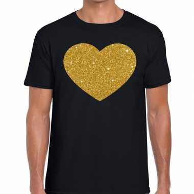 Gouden hart glitter fun zwart heren t-shirt kopen
