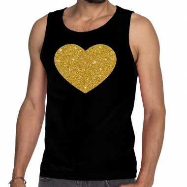Gouden hart glitter tanktop / mouwloos zwart heren t-shirt kopen