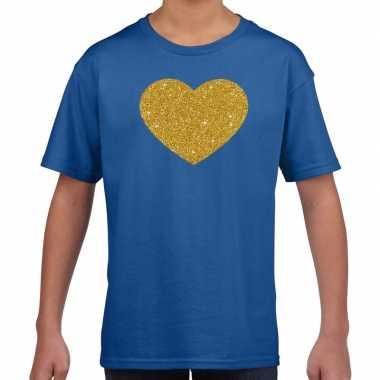 Gouden hart gouden glitter blauw kids t-shirt kopen