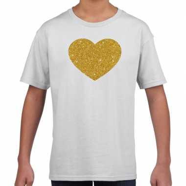Gouden hart gouden glitter wit kids t-shirt kopen