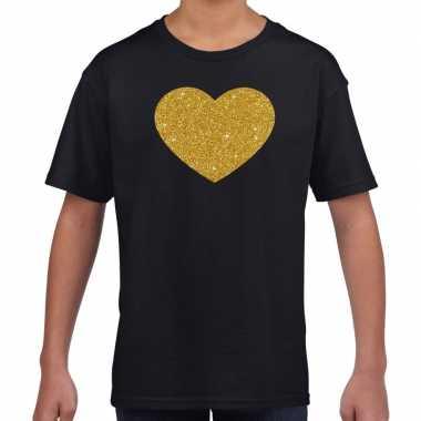 Gouden hart gouden glitter zwart kids t-shirt kopen