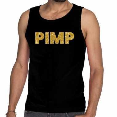 Gouden pimp glitter tanktop / mouwloos zwart heren t-shirt kopen