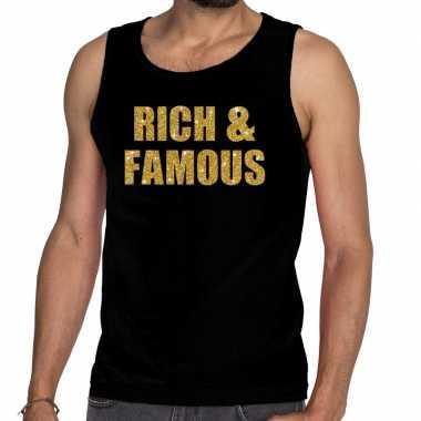 Gouden rich & famous glitter tanktop / mouwloos zwart here t-shir