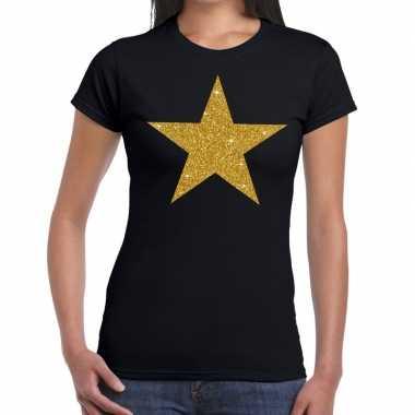 Gouden ster glitter fun zwart dames t-shirt kopen