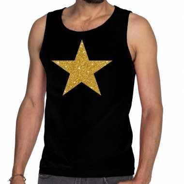 Gouden ster glitter tanktop / mouwloos zwart heren t-shirt kopen