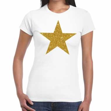 Gouden ster glitter tekst wit dames t-shirt kopen