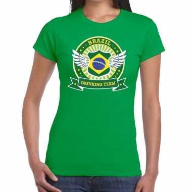 Groen brazil drinking team dames t-shirt kopen
