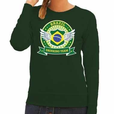Groen brazil drinking team sweater dames t-shirt kopen