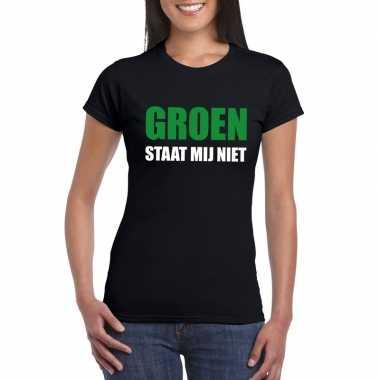 Groen staat mij niet tekst zwart dames t-shirt kopen