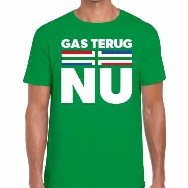 Groningen protest gas terug nu groen heren t-shirt kopen