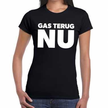 Groningen protest gas terug nu zwart dames t-shirt kopen