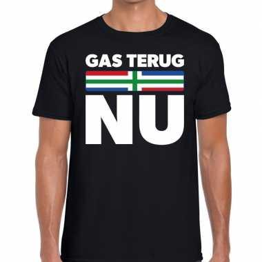 Groningen protest gas terug nu zwart heren t-shirt kopen