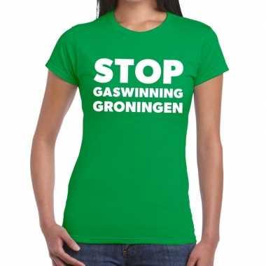 Groningen protest stop gaswinning groen dames t-shirt kopen