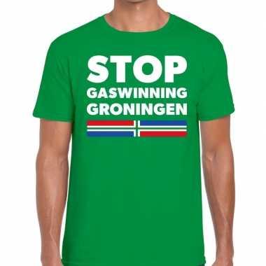 Groningen protest stop gaswinning groningen groen h t-shirt kopen