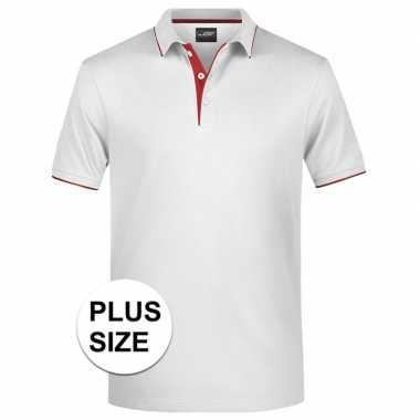 Grote maten polo golf pro premium wit/rood heren t-shirt kopen